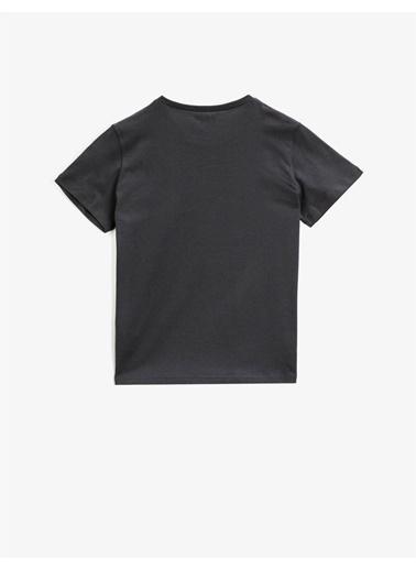 Koton Baskili T-shirt Kisa Kollu Pamuklu Gri